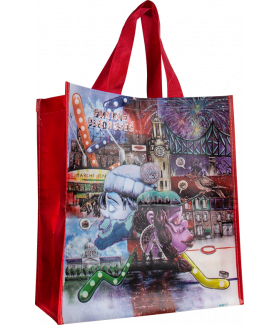 Reusable woven bag with lamination (14 x 16 + 7)_Emballage EDR