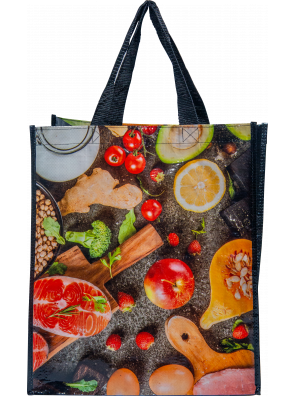 Reusable woven bag - Grocery pattern (14 x 16 + 7)