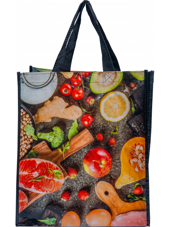 Reusable woven bag - Grocery pattern (14 x 16 + 7)_Emballage EDR