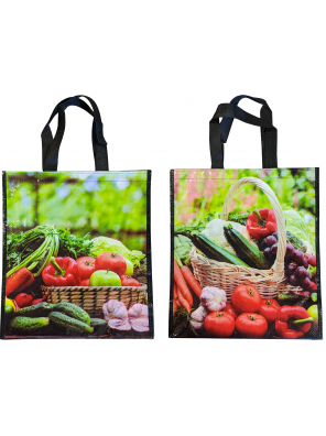 Reusable woven bag - Vegetables pattern (14 x 16 + 7)