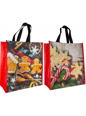 Reusable woven bag - Christmas (14 x 16 + 7)