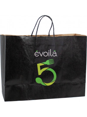"""Kraft paper bags with handles """"grocery / restaurant"""" style _Emballage EDR"""